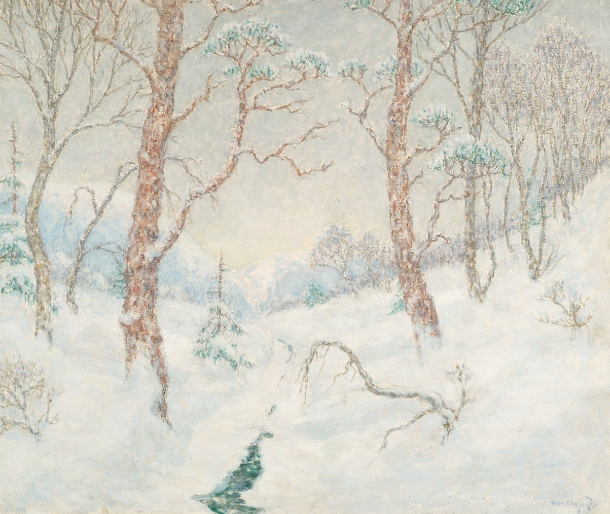 W.H. Singer jr. Bergstroom in de winter, 1923