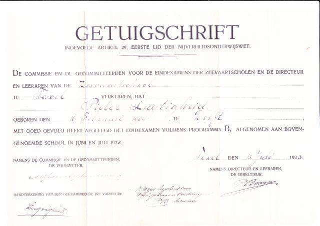 Getuigschrift van Pieter Lugtigheid.