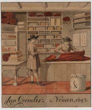 Aquarel van de stoffenwinkel van Jan Cornelisz. Nomen in 1697