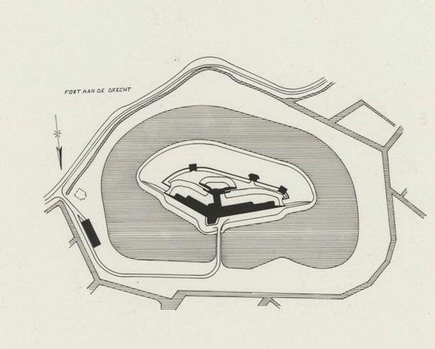 Tekening Fort aan de Drecht, bron: Cultuurcompagnie Noord-Holland