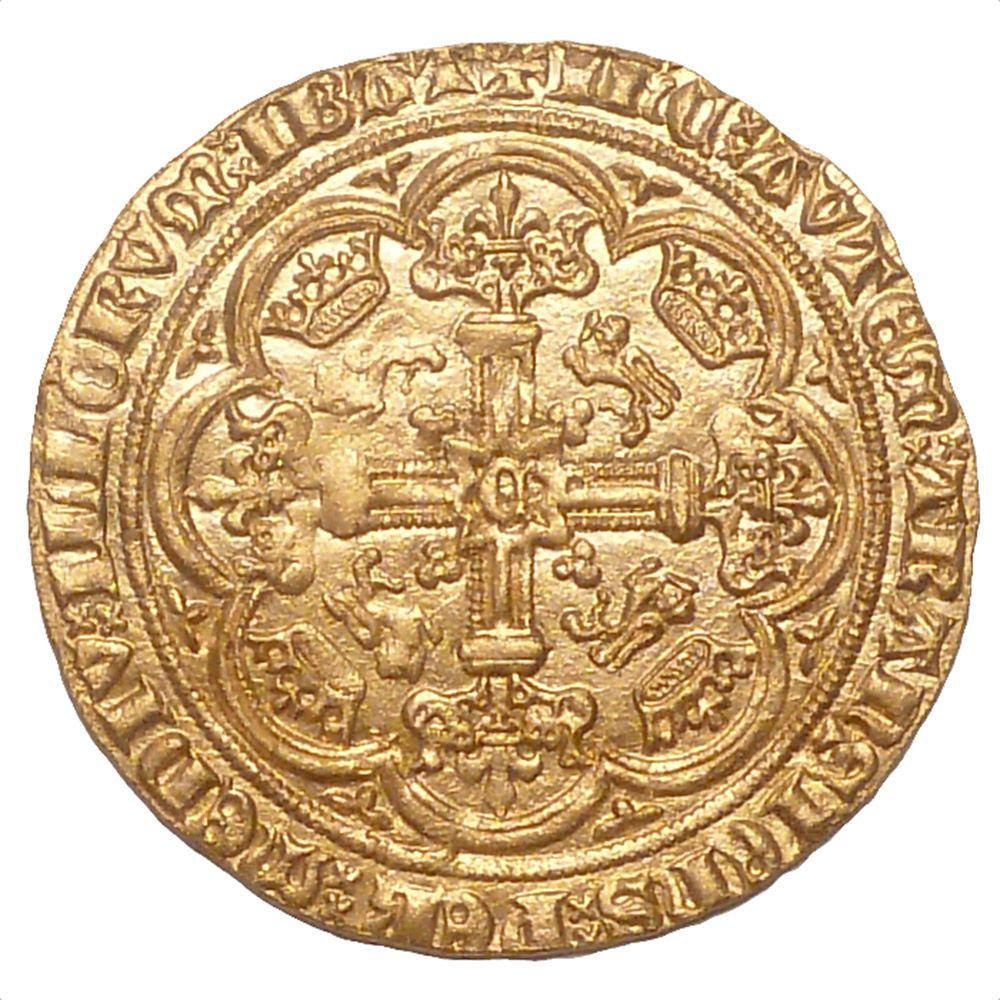 Engelse gouden nobel van Edward III (1327-1377) - kruiszijde.