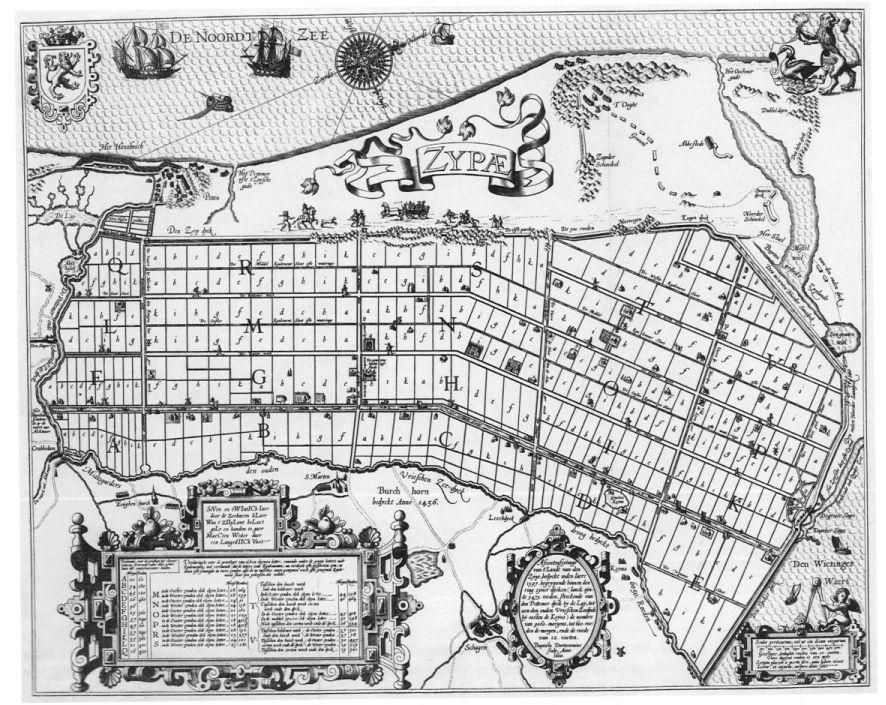 Kaart van Zijpe in 1600