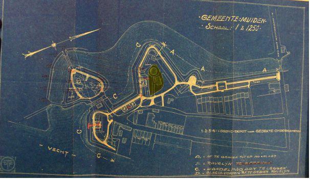 Kaart afgraving wallen en aanleg wandelpaden op bastions X en XI, 1923.