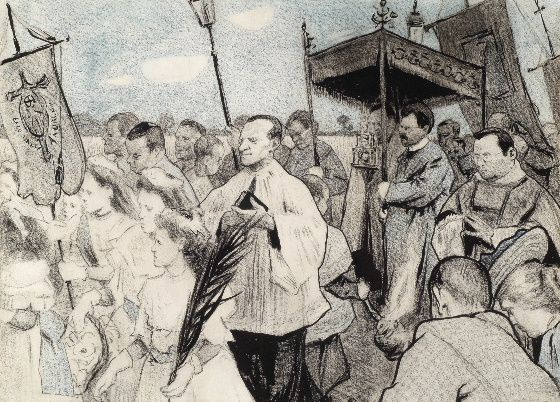 Leo Gestel, Sint Jansprocessie te Laren, 1904-1905.