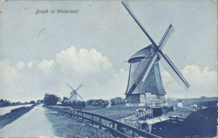 Poldermolens aan de Broekermeerdijk, ca. 1920.
