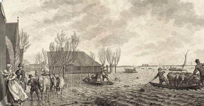 Dijkdoorbraak bij Warder, 1775.