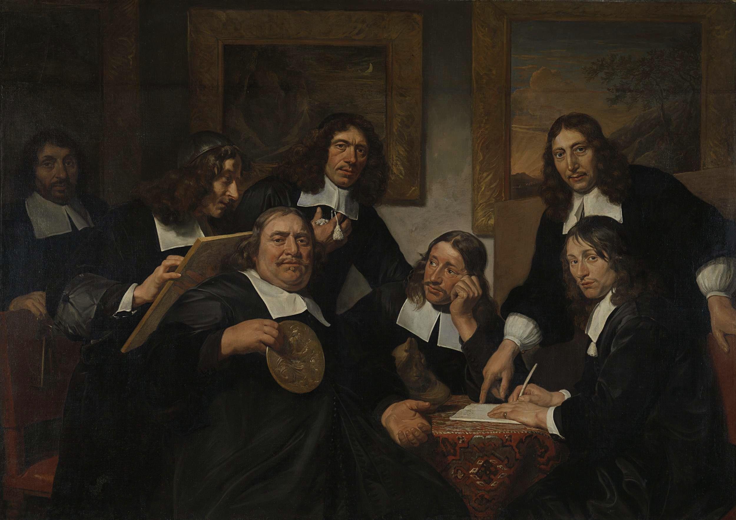 Overlieden van het Haarlemse Sint Lukasgilde geschilderd door Jan de Bray (1675)