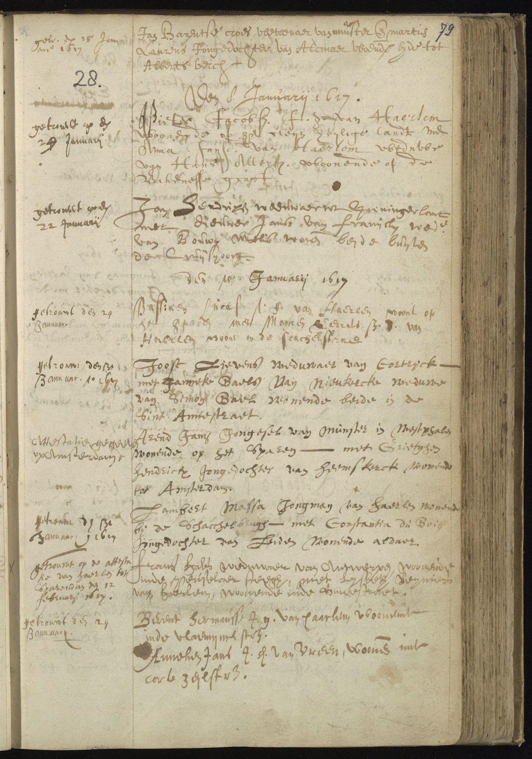 17de eeuws ondertrouwboek van de Nederlands Hervormde Gemeente te Haarlem
