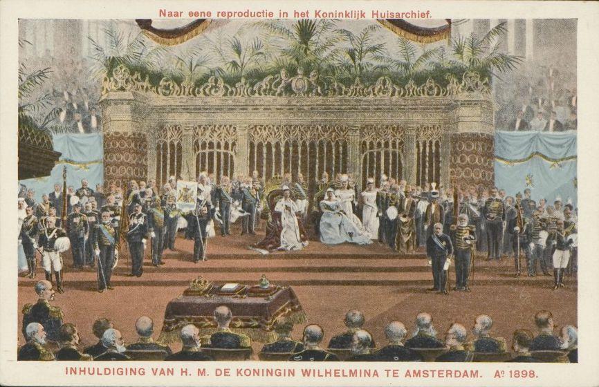 Inhuldiging koningin Wilhelmina in de Nieuwe Kerk