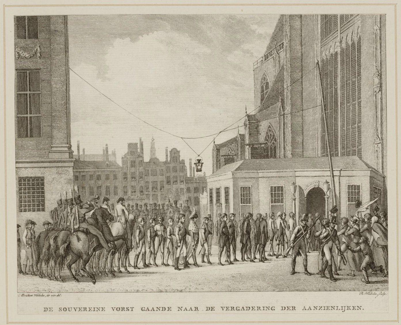 Koning Willem I op weg van het Koninklijk Paleis naar de Nieuwe Kerk