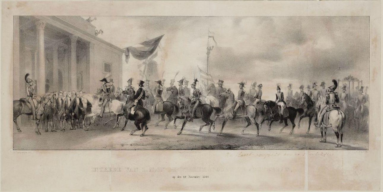 Intrede van koning Willem II bij de Willemspoort op 27 november 1840