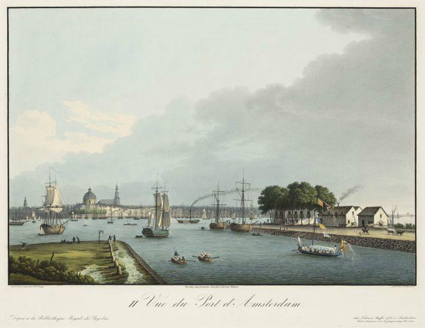 Gezicht op Amsterdam vanaf het Noordhollands kanaal bij de Willemsluizen (1825)