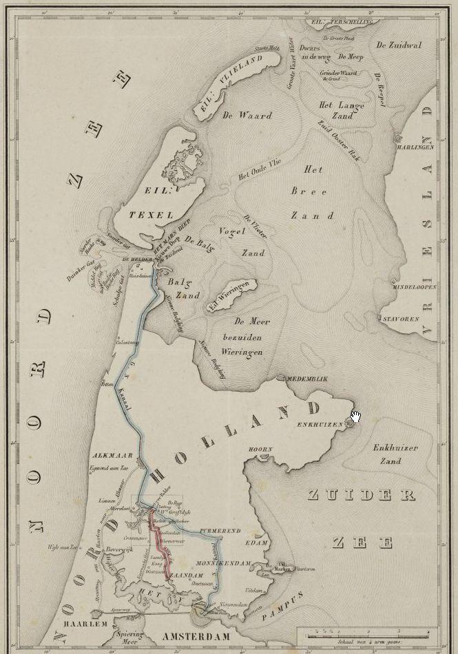 Kaart van de verbinding tussen de Zaan en het nieuwe Noordhollands Kanaal (1850)