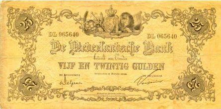 Vijfentwing gulden bankbiljet uitgegeven door de Nederlandsche Bank in1861