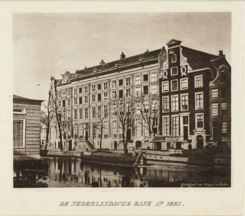 De oude panden van de Nederlandse Bank op de Oude Turfmarkt (1863)