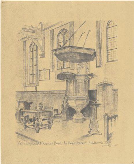 Interieur van de Oude Kerk te Heemstede; topografische prent door Jan Wiegman, 1941.