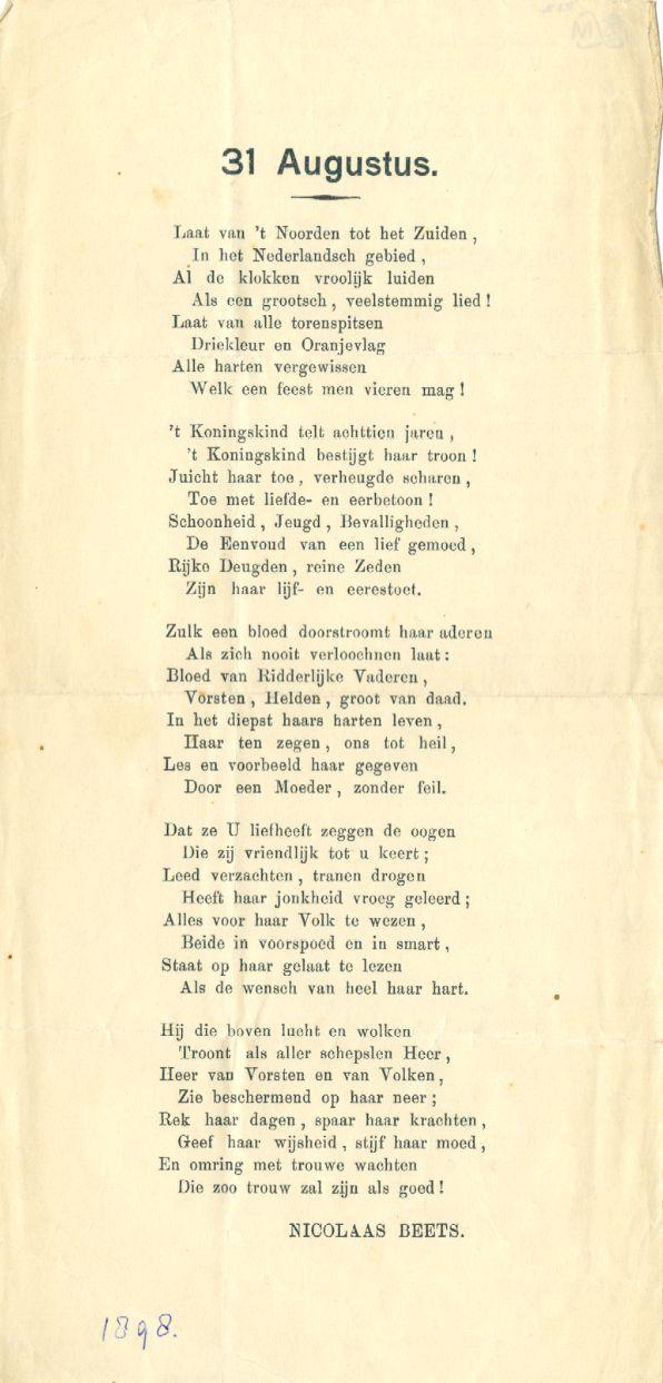 Gedicht van Nicolaas Beets geschreven voor de troonsbestijging van Wilhelmina