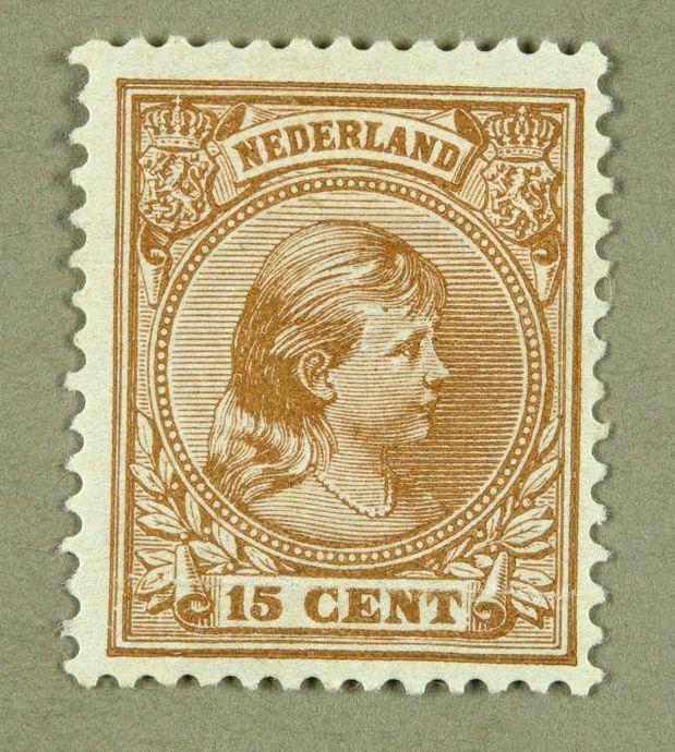 Postzegel met beeltenis van een jonge Wilhelmina
