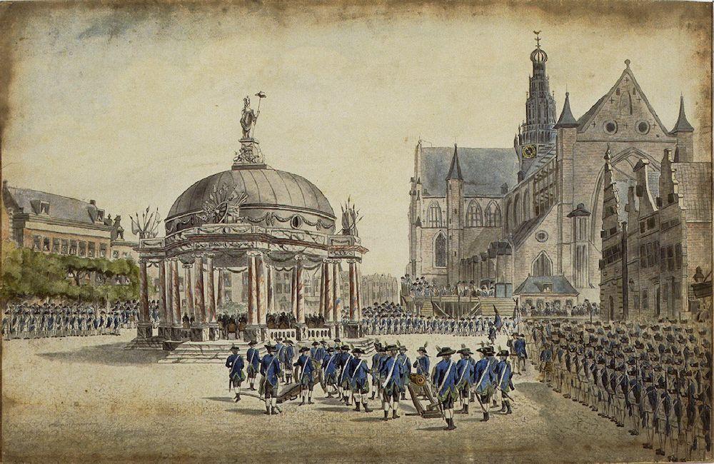 Uitroepen van de Regeringsregelementen op de Grote Markt in Haarlem, 1787