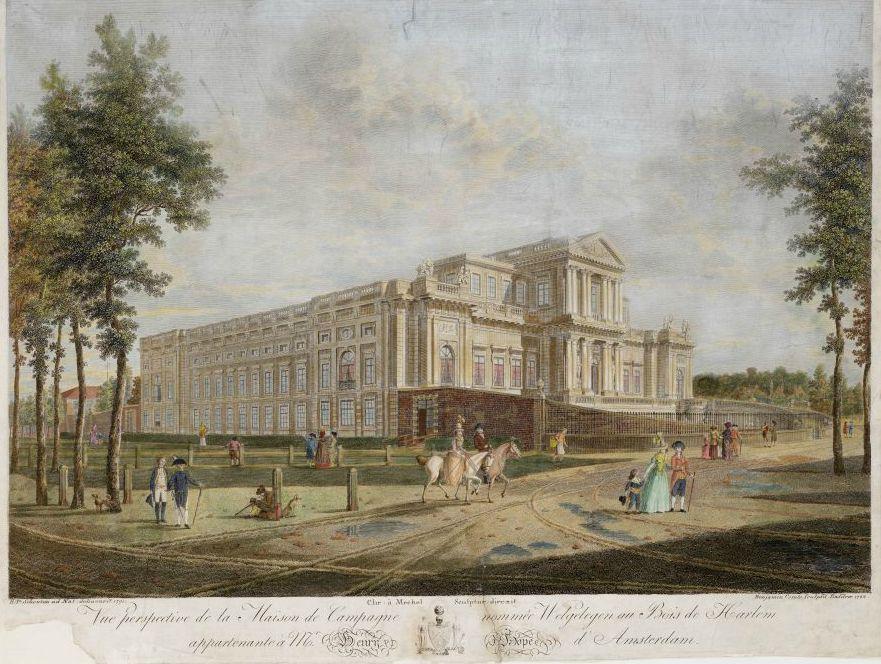 Paviljoen Welgelegen op een prent uit 1792