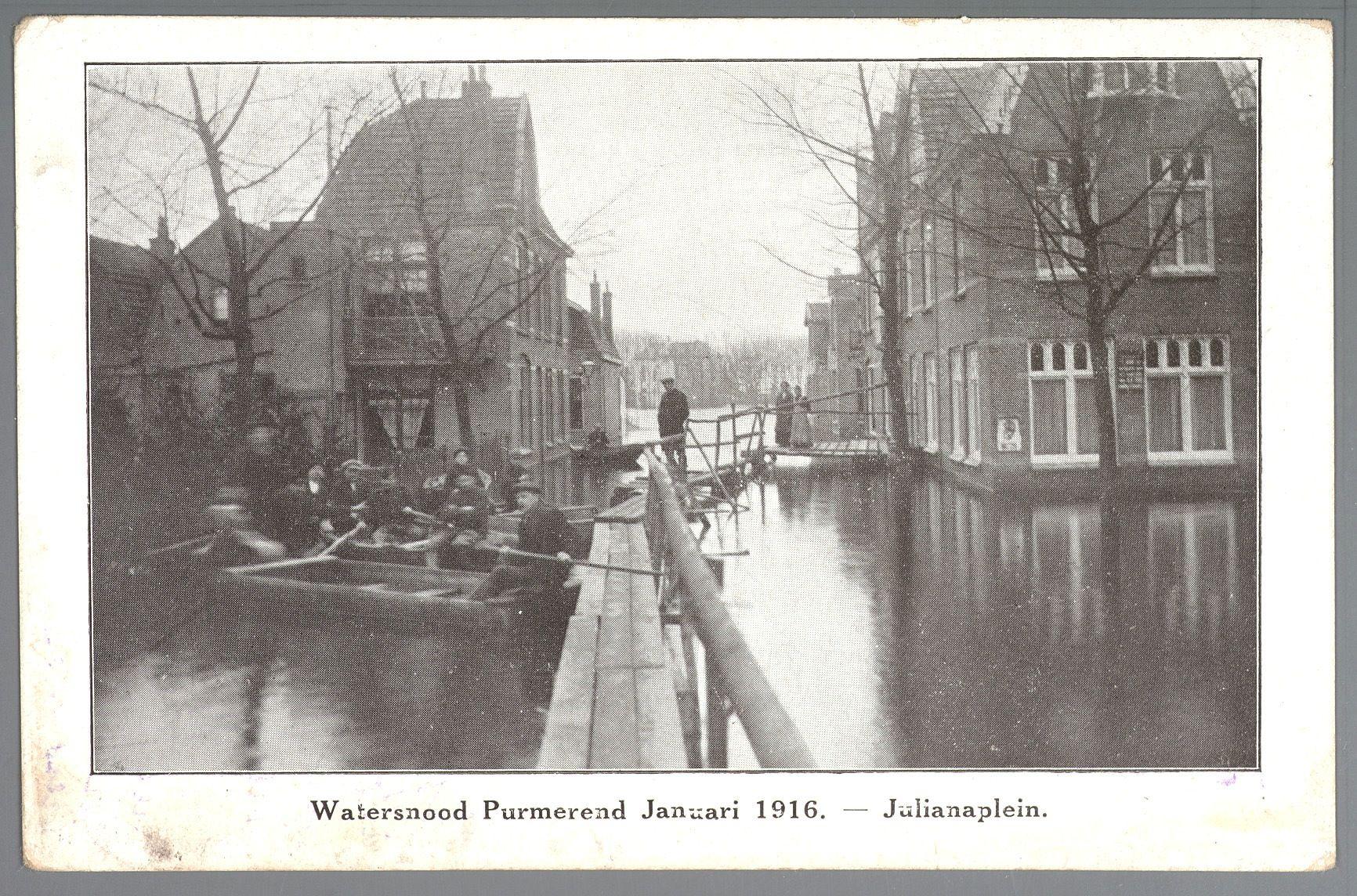 Ondergelopen Julianaplein tijdens de Watersnoodramp van 1916