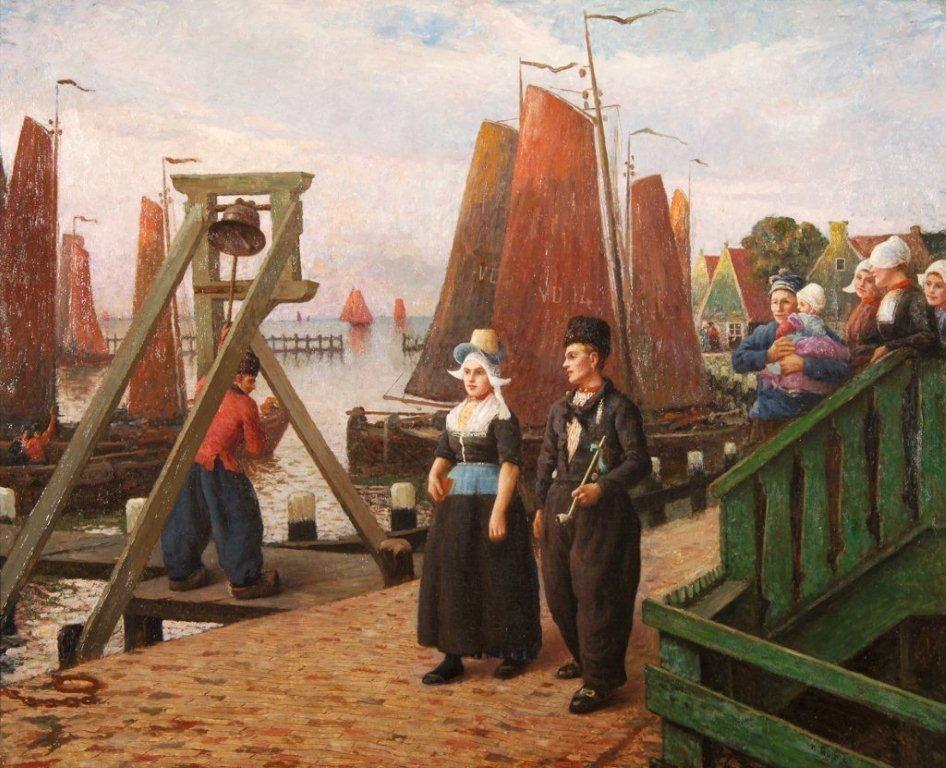 Klokkenpaal in Volendam; schilderij uit de collectie van Hotel Spaander, geschilderd door Guinier