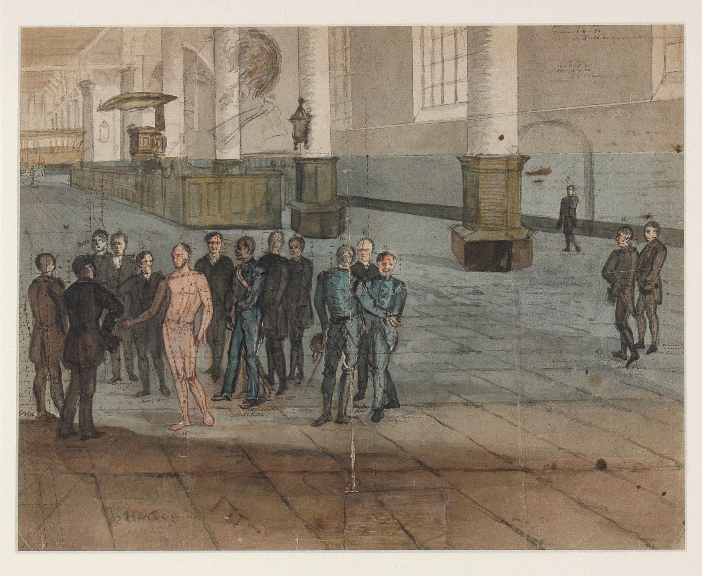 Voorbereidende schets voor het schilderij van het bezoek van Willem II aan Edam in 1842