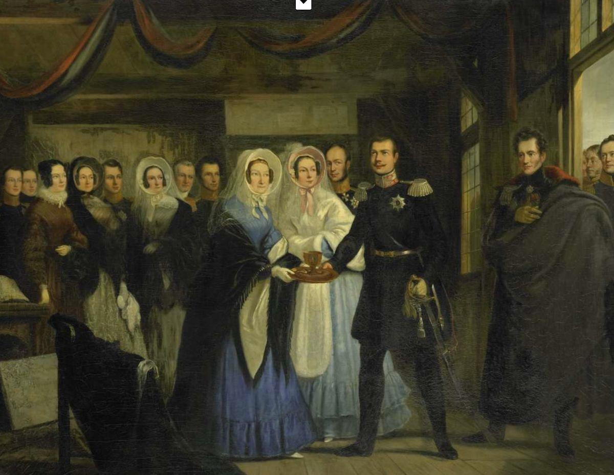 Op 17 april 1839 ontving Anna Pauwlona van Rusland, prinses van Oranje, grootvorst Alexander II, troonopvolger van Rusland, in het Czaar Peterhuisje te Zaandam. De prinses presenteert de grootvorst een blad waarop brood (in tulbandvorm) en zout in een zou