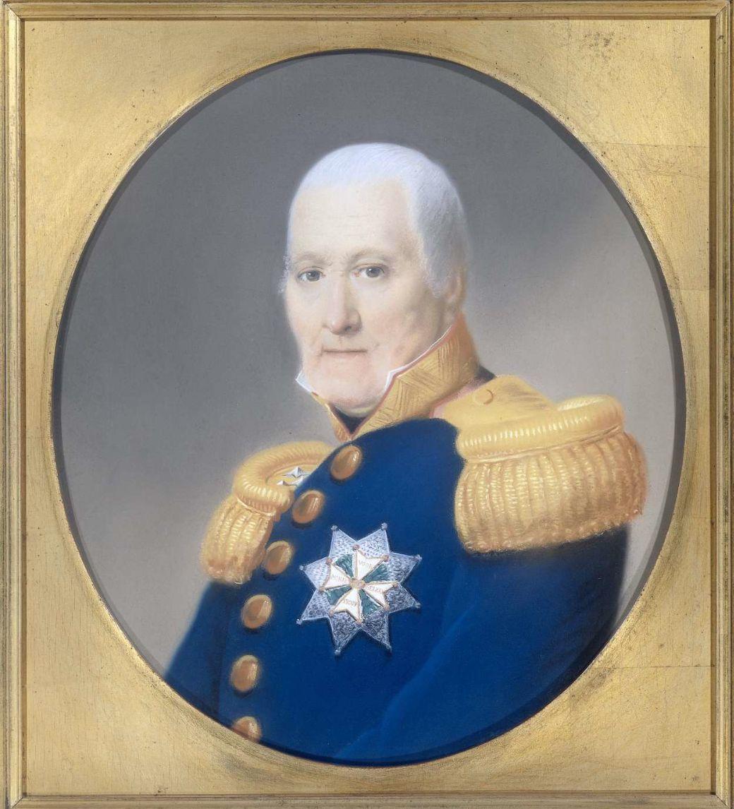 Portret van luitenant-generaal C.R.Th. Krayenhoff op tachtig jarige leeftijd; pastel van H. J. Slothouwer