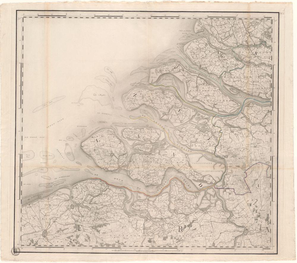 Eerste blad van de Kraijenhoff kaart; alleen de eerste vier kaarten behoren tot de Atlas der Neerderlanden, de rest is pas jaren later uitgegeven toen de Atlas al was afgesloten.
