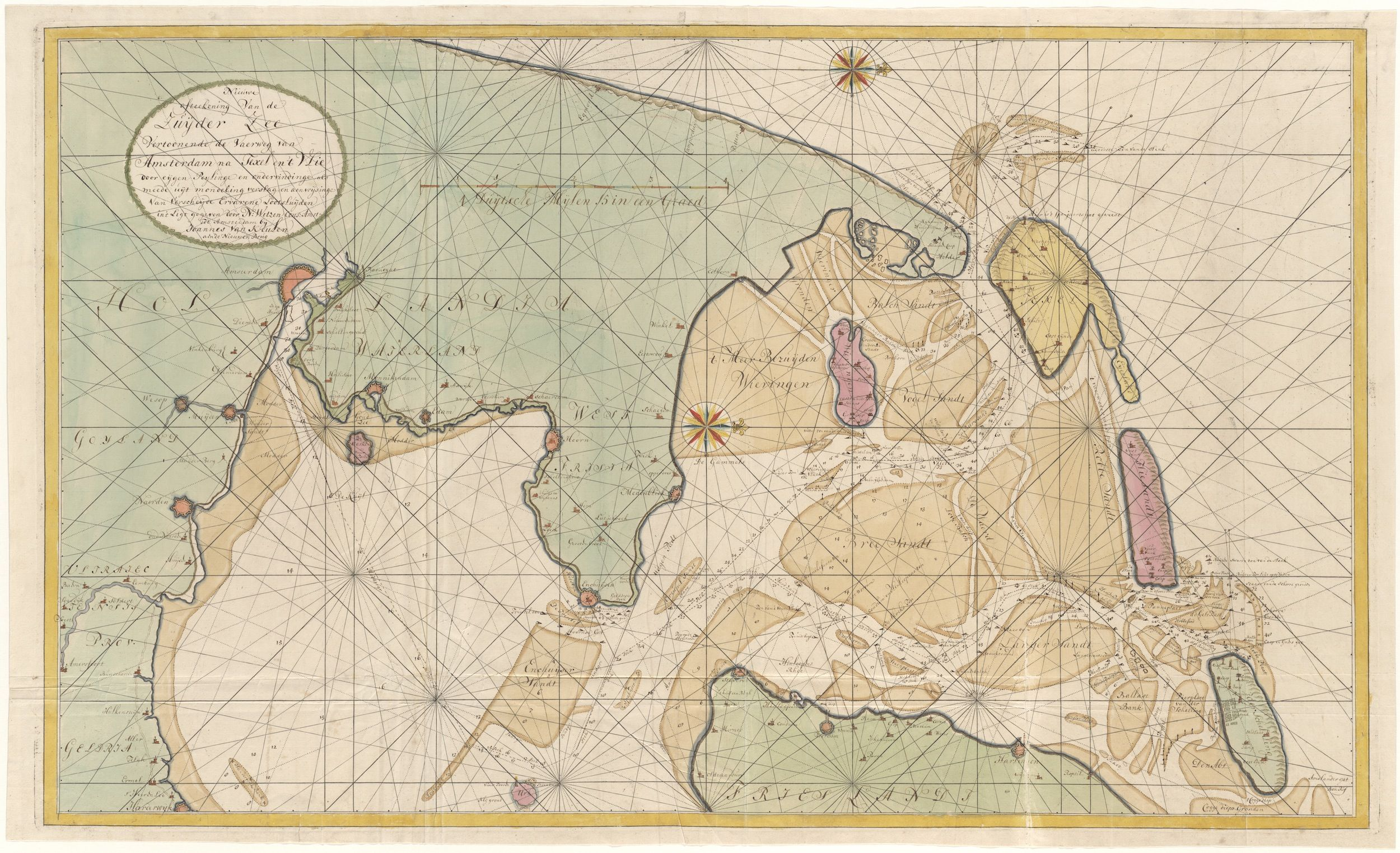 Zuiderzee en de vaarweg van Amsterdam naar Texel en het Vlie in handschrift door Nicolaes Witsen, vervaardigd bij Johannes van Keulen, ca. 1730
