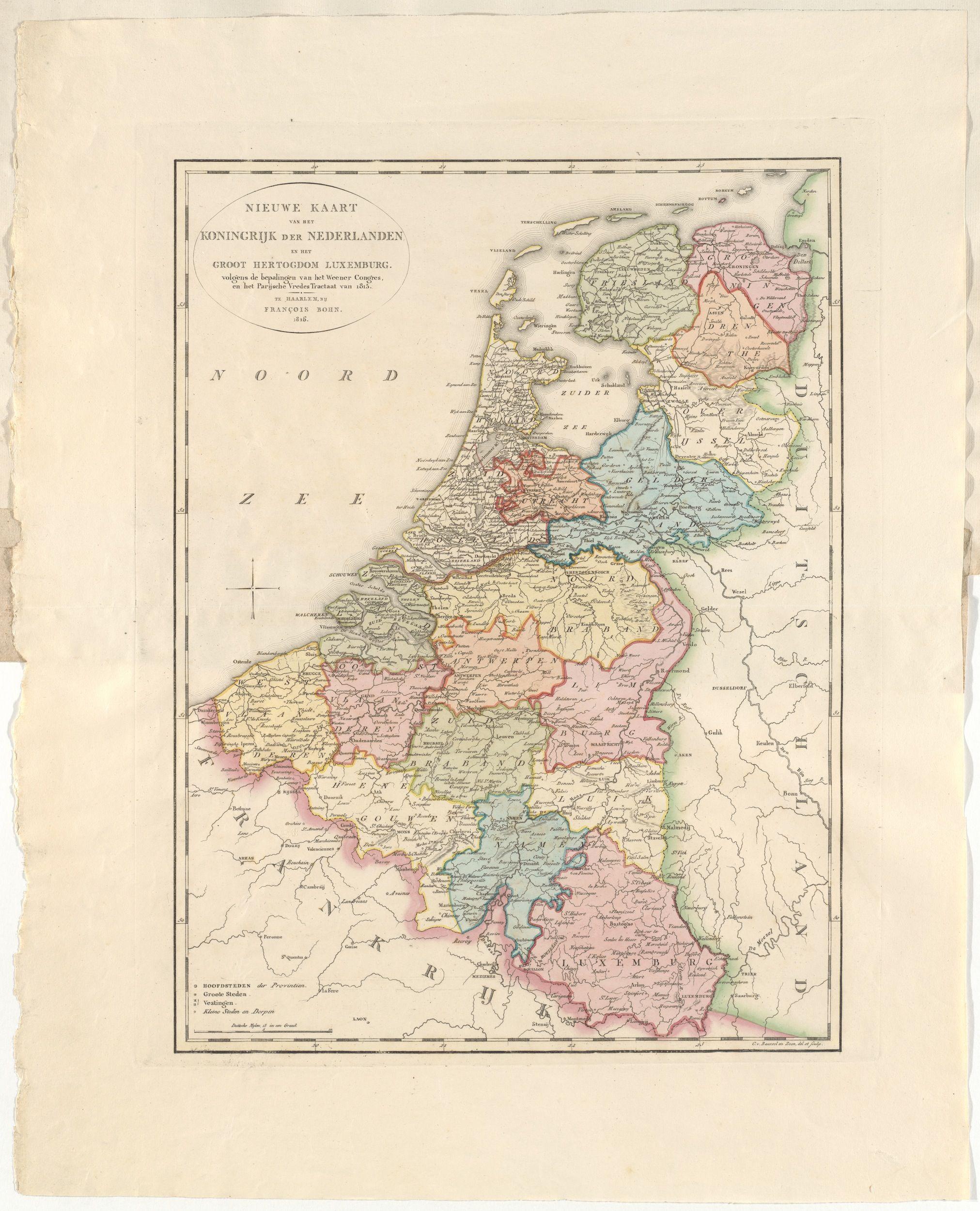 Het Koninkrijk der Nederlanden en het Groothertogdom Luxemburg volgens de bepalingen van het Congres van Wenen, uitgave François Bohn, 1816