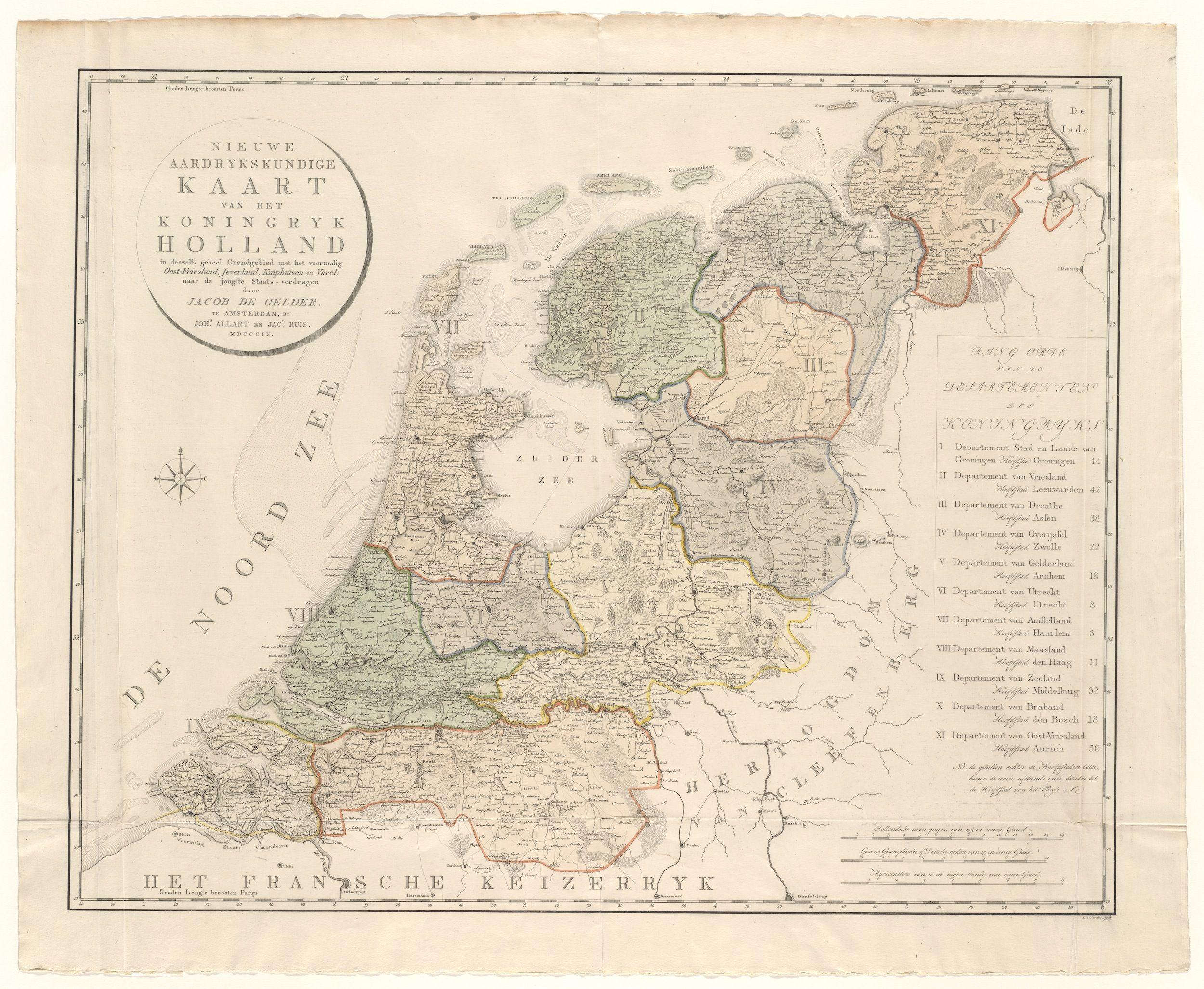 Koninkrijk Holland door Jacob de Gelder, uitgave Johannes Allart en Jacobus Ruys, 1809