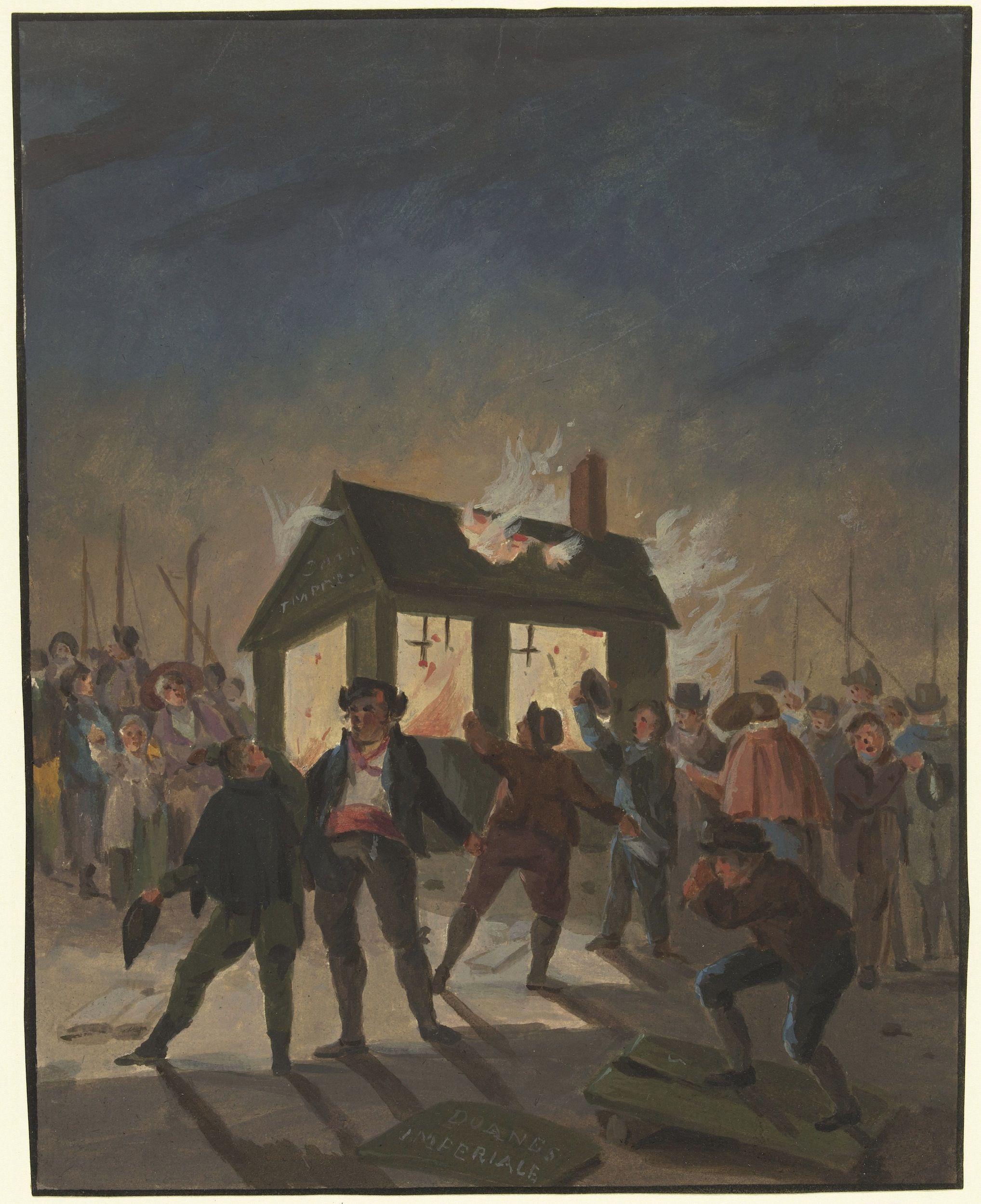 Het verbranden van de douanehuisjes in Amsterdam op 15 november 1813, anonieme tekenaar