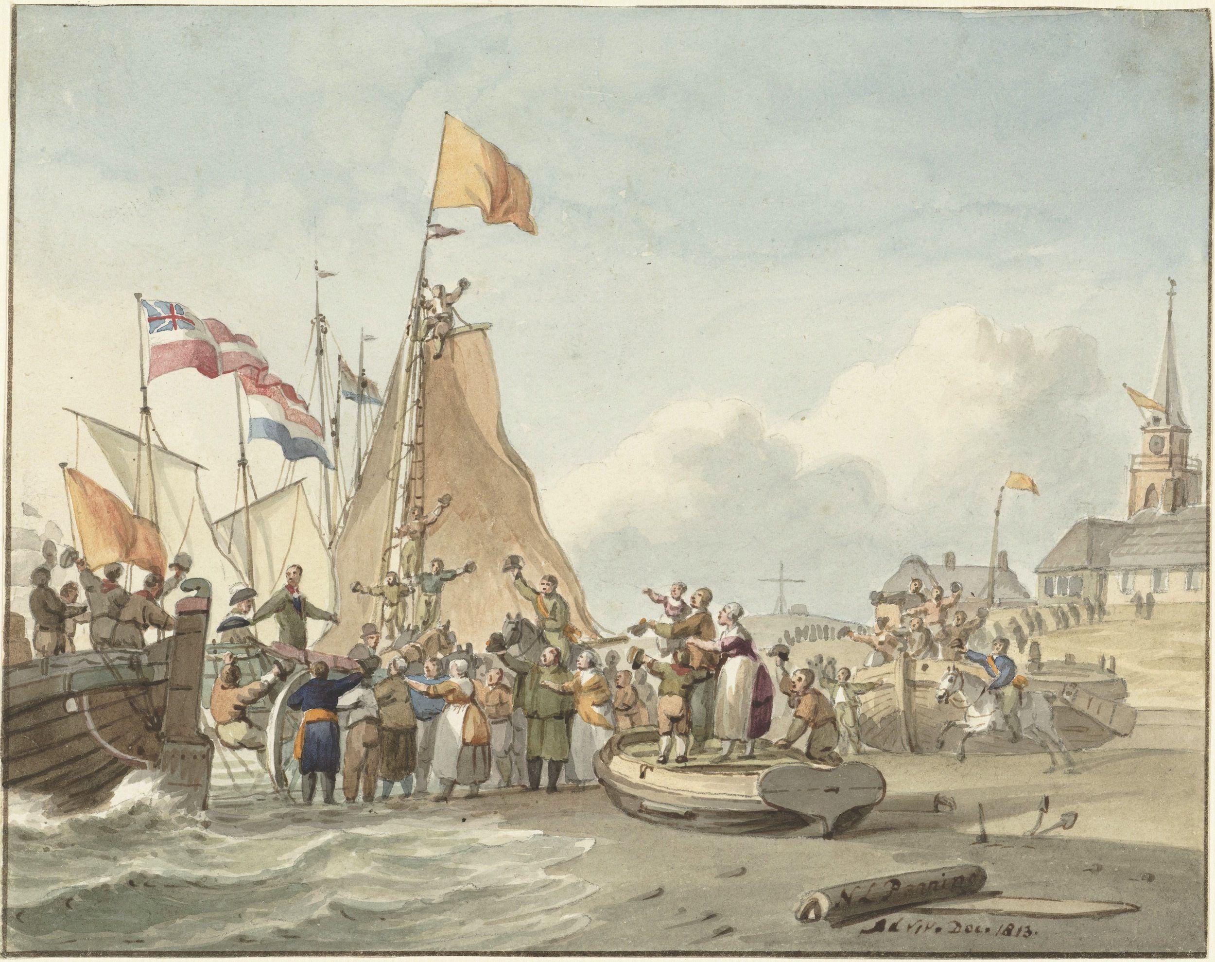 Aankomst van de prins van Oranje op het strand van Scheveningen