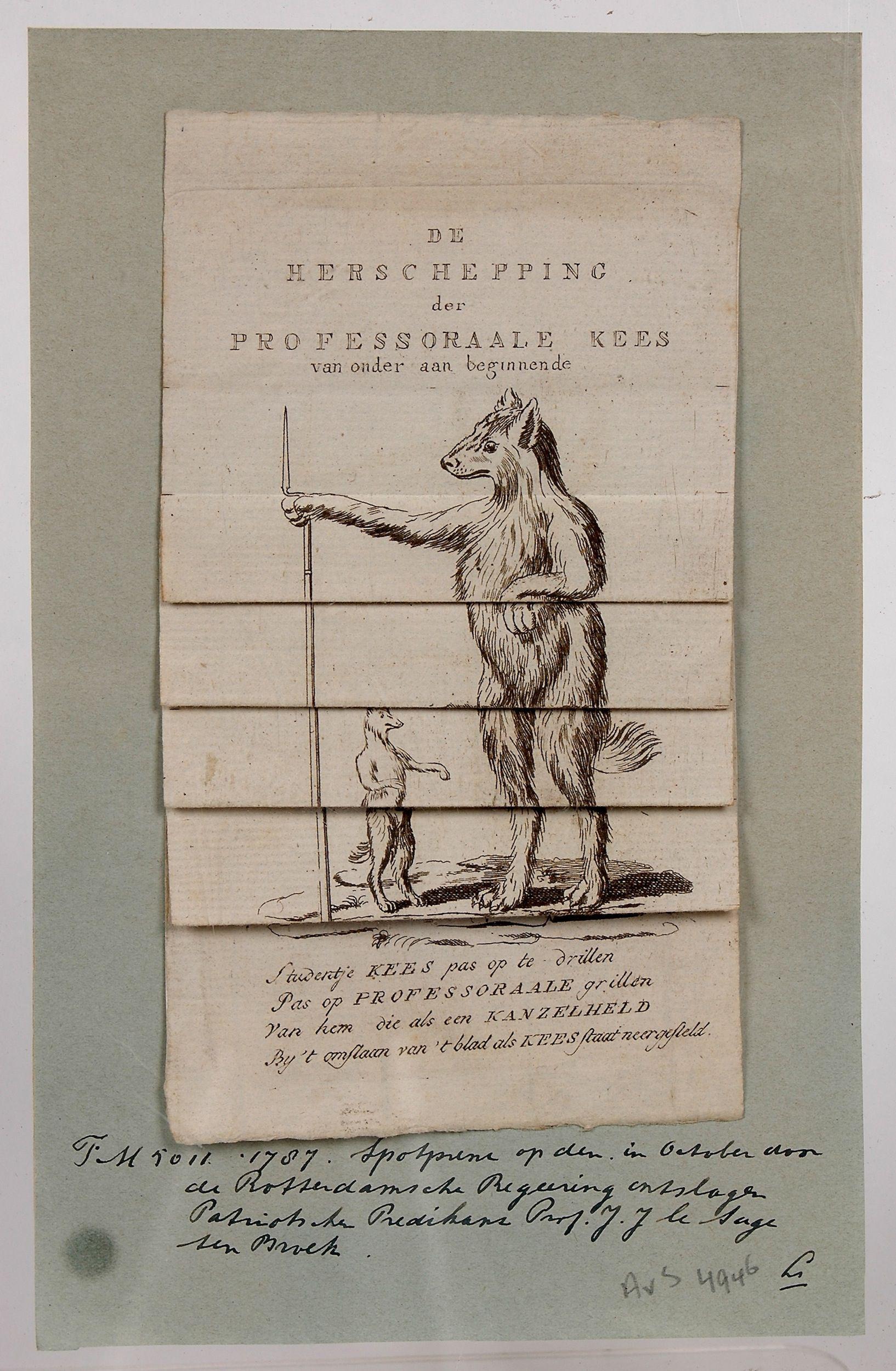 Spotprent op patriotse professoren, 1787