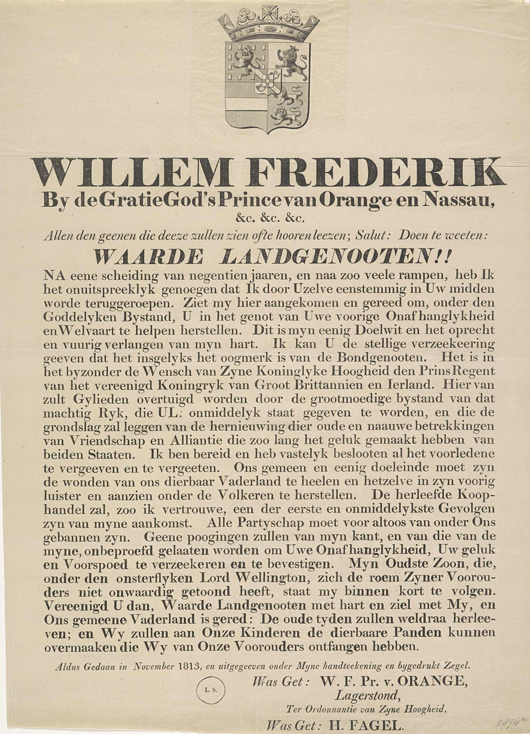 Proclamatie van de Prins van Oranje bij zijn aankomst in Scheveningen, 1813