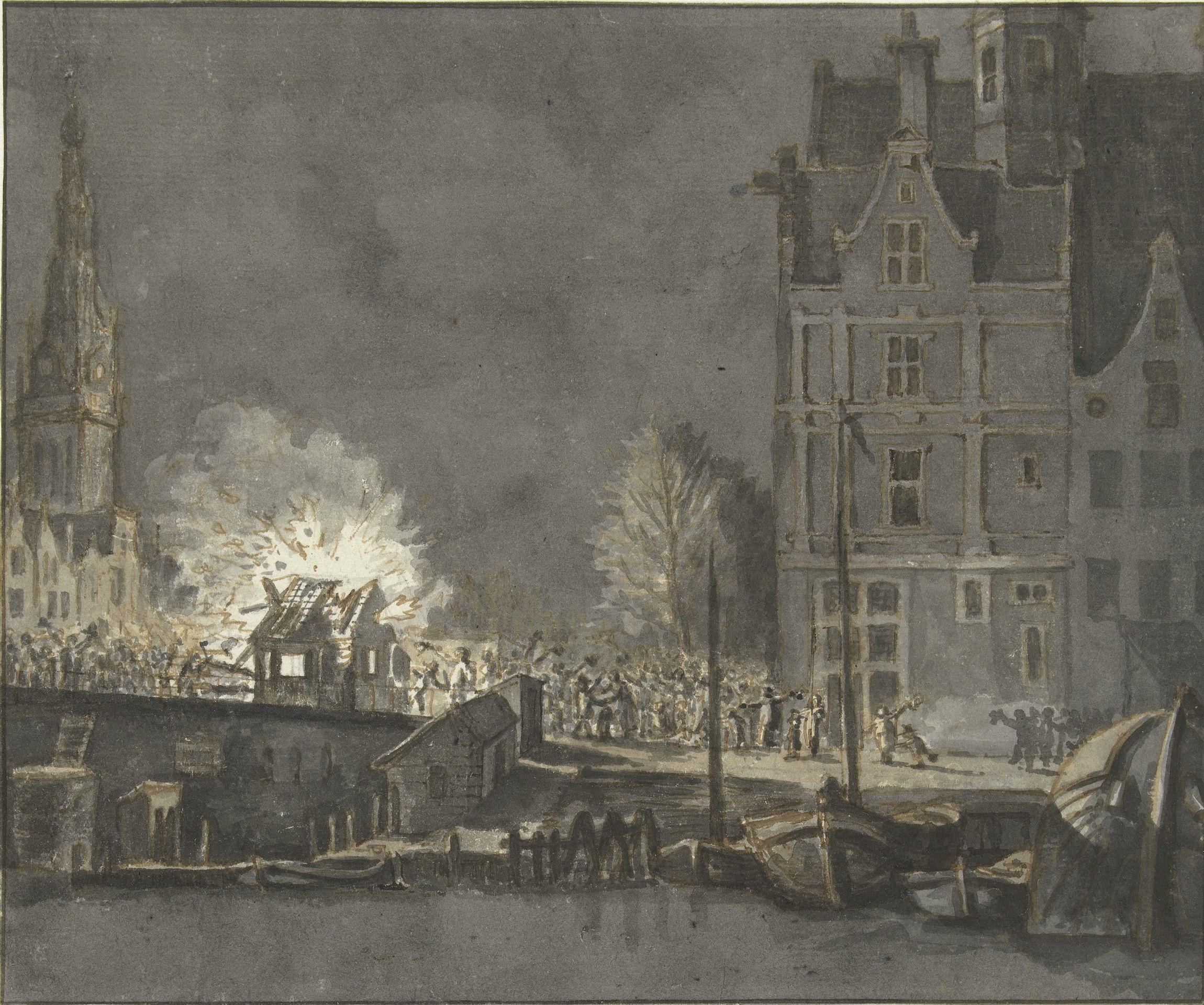 Het verbranden van de Franse douanehuisjes bij de Nieuwebrug te Amsterdam op 15 november 1813.