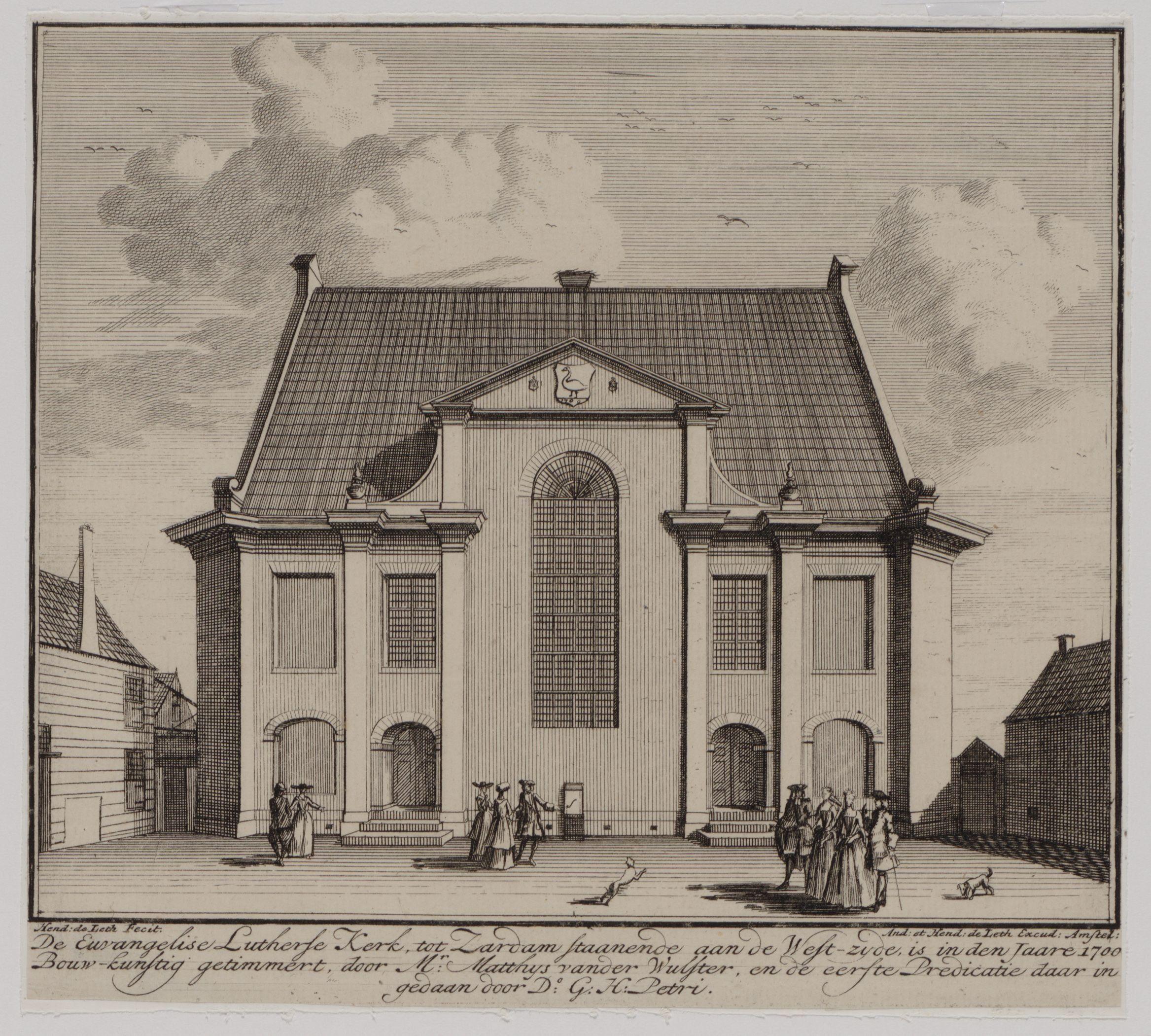 De Evangelische Lutherse kerk aan de Vinkenstraat in Zaandam. De kerk is in 1700 gebouwd door Mr. Matthijs van der Wulfter, de eerste preek werd verzorgd door dominee Petri.