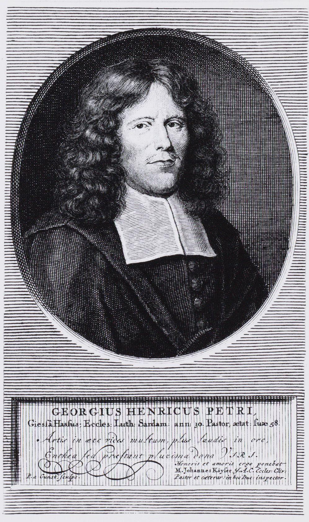 Portret van de Evangelisch-Lutherse dominee Georgius Henricus Petri (1644-1703).