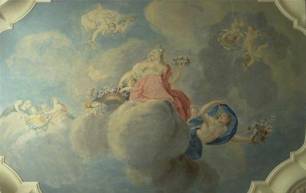 Herengracht 241, plafondschildering met Flora in de voorkamer 1ste verd.