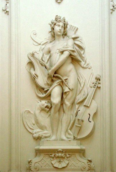Stucbeeld Apollo in het trappenhuis, Herengracht 475