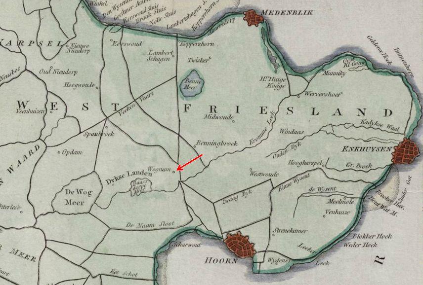 Uitsnede West-Friesland met Wognum aangegeven op de kaart van E. Neele Walsh (graveur) uit 1800.