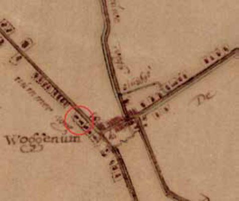 De locatie van de opgraving in de kern van 'Woggenum' op de kaart van Dou uit 1651-1654.