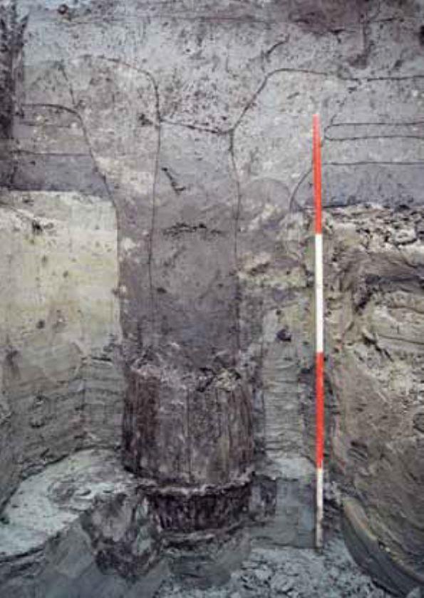 Waterput met houten ton uit de 13de eeuw.
