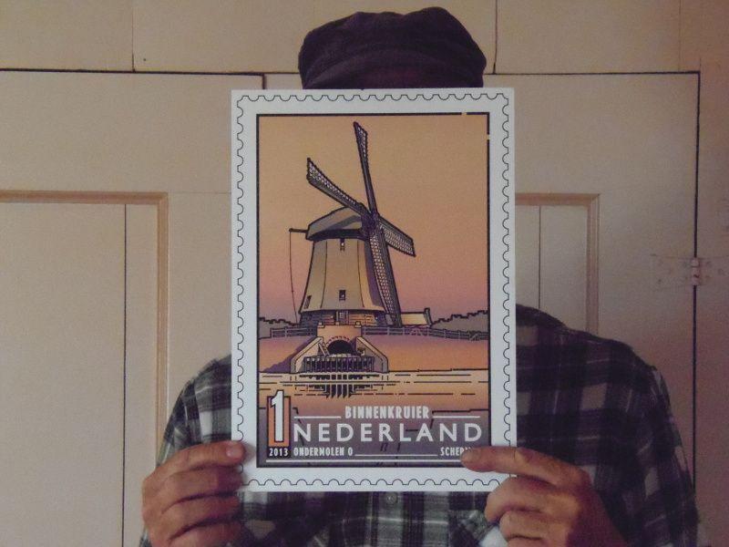 Een Schermer molen op een postzegel