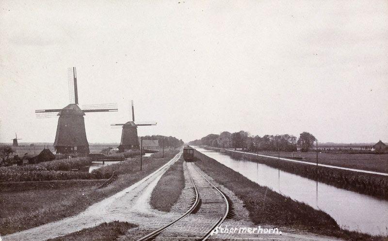 Historische foto van de stoomtram Alkmaar Purmerend