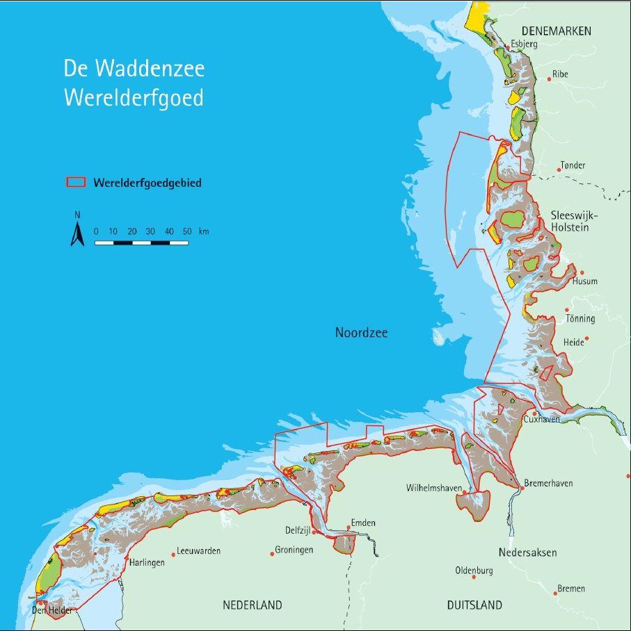 Overzichtskaart Waddenzee.