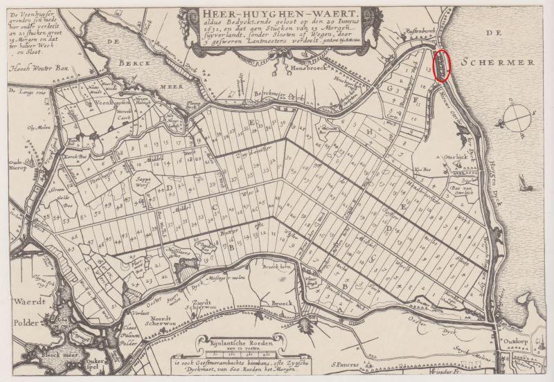 Verkavelingskaart van de Heerhugowaard uit 1631