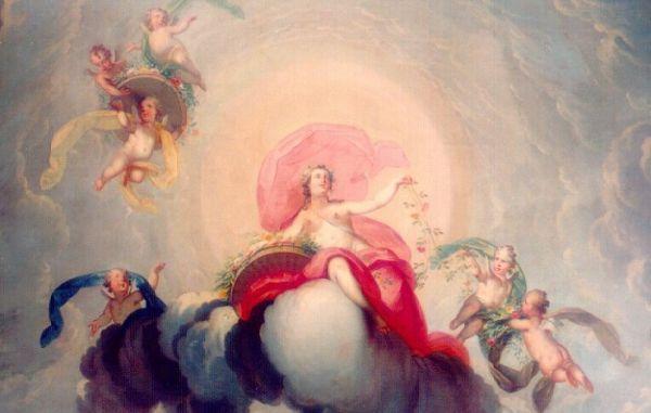 Detail van plafondstuk: Flora, godin van de lente, omringd door putti.